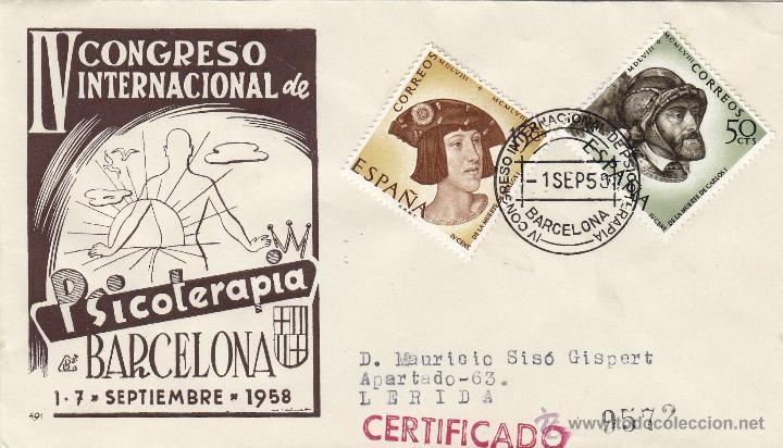 SOBRE MATASELLOS : IV CONGRESO INTERNACIONAL DE PSICOTERAPIA, BARCELONA 1958. MEDICINA CIRCULADO (Sellos - Historia Postal - Sello Español - Sobres Primer Día y Matasellos Especiales)