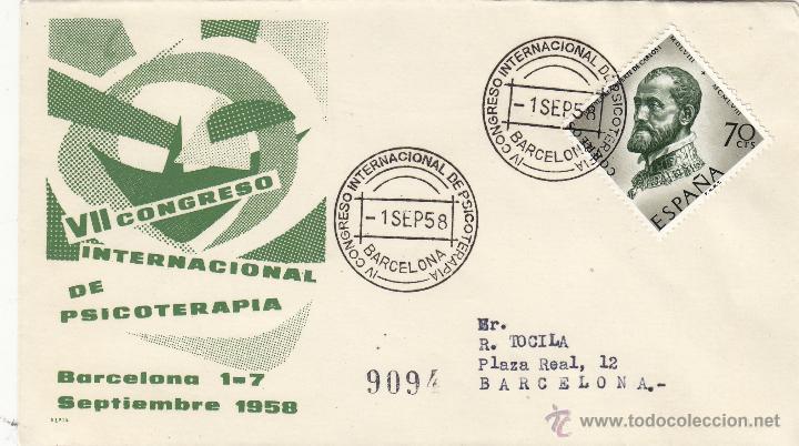 SOBRE MATASELLOS : IV CONGRESO INTERNACIONAL DE PSICOTERAPIA, BARCELONA 1958 . MEDICINA CIRCULADO (Sellos - Historia Postal - Sello Español - Sobres Primer Día y Matasellos Especiales)