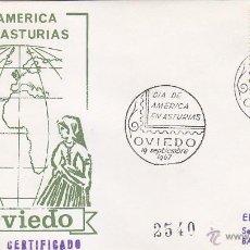 Sellos: DIA DE AMERICA EN ASTURIAS, OVIEDO (ASTURIAS) 1967. MATASELLOS EN SOBRE CIRCULADO EG. MUY RARO ASI.. Lote 16443687