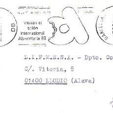 Sellos: VISITEN EL SALON ALIMENTARIA 1988. RODILLO. BARCELONA FEBRERO 1988. Lote 41410706