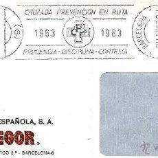 Sellos: AUTOMOVILES. CRUZADA PREVENCION EN RUTA. PRUDENCIA, DISCIPLINA, CORTESIA. BARCELONA MAYO 1983. Lote 41410763