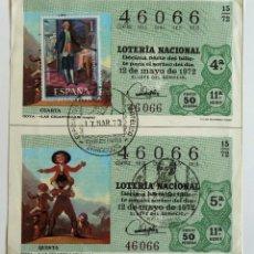 Francobolli: DECIMOS LOTERIA NACIONAL GOYA 1972. MATASELLO GOYA, INVALIDOS CIVILES. ZARAGOZA 1973.. Lote 41566828