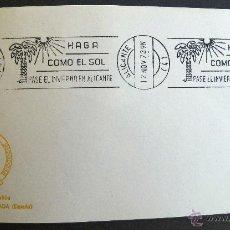 Selos: SOBRE FILATELICO MATASELLO RODILLO. HAGA COMO EL SOL PASE EL INVIERNO EN ALICANTE. ALICANTE 1973.. Lote 41683001