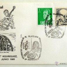 Francobolli: SOBRE FILATELICO HOMENAJE AL FILATELISTA TEMATICO. AS PONTES Gª. RODRIGUEZ 1985.. Lote 41796601