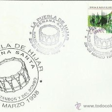 Sellos: TARJETA CON MATASELLOS. LA PUEBLA DE HIJAR. 1988. RUTA DEL TAMBOR Y DEL BOMBO. SEMANA SANTA.. Lote 42024503