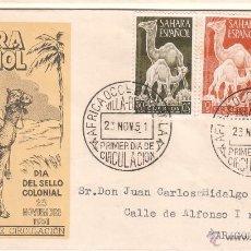 Sellos: SAHARA ESPAÑOL. EDIFIL 91-93 EN SOBRE DE PRIMER DÍA. DÍA DEL SELLO COLONIAL. 23 NOVIEMBRE DE 1951.. Lote 42623374
