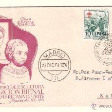 Sellos: SOBRE CONMEMORATIVO DE LA EXPOSICIÓN BIENAL HISPANO AMERICANA, CON MATASELLOS DAMA DE ELCHE. 1951. Lote 42623477
