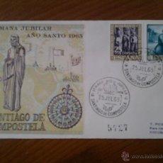 Sellos: ANTIGUO SOBRE SEMANA JUBILAR SANTIAGO DE COMPOSTELA 1965. Lote 43255745