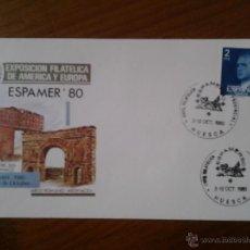 Sellos: ANTIGUO SOBRE EXPOSICION FILATELICA ESPAMER 1980 MADRID HUESCA. Lote 43256461