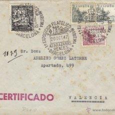 Sellos: SOBRE MATASELLOS EXPOSICION FILATÉLICO MARITIMA ATARAZANAS REALES . BARCELONA / VALENCIA CIRCULADO.. Lote 43695050