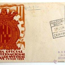 Sellos: SOBRE FILATELICO CIRCULADO. XX FERIA OFICIAL E INTERNACIONAL DE MUESTRAS. BARCELONA 1952. GOMIS.. Lote 43705951