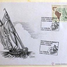 SOBRE MATASELLADO. 3º CENTENARIO SERVICIO CORREOS MARITIMO ENTRE FALMOUTH Y LA CORUÑA. 1989.