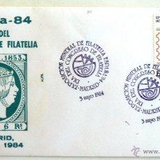 Sellos: SOBRE FILATELICO ESPAÑA 84. DIA DEL CONGRESO DE FILATELIA. MADRID 1984.. Lote 44648225
