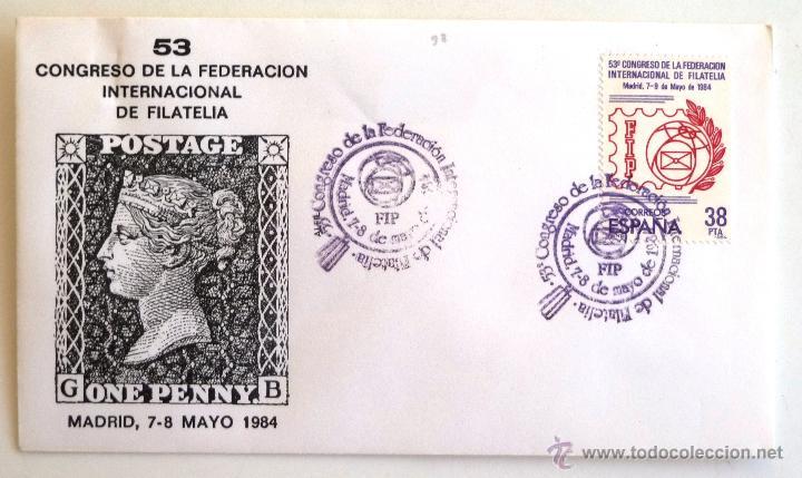 SOBRE FILATELICO 53 CONGRESO FEDERACION INTERNACIONAL DE FILATELIA. MADRID 1984. (Sellos - Historia Postal - Sello Español - Sobres Primer Día y Matasellos Especiales)
