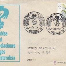 Sellos: AMIGOS DE LA NATURALEZA CONGRESO DE SOCIEDADES OVIEDO (ASTURIAS) 1975 MATASELLOS SOBRE ILUSTRADO MPM. Lote 44814066