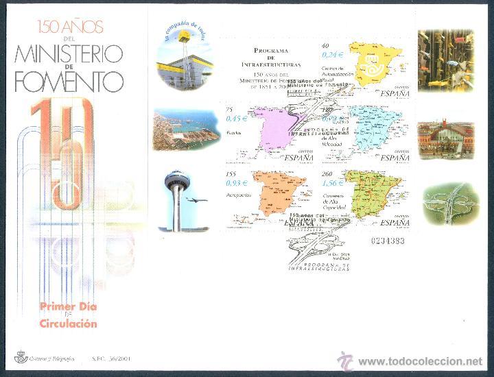 SOBRE PRIMER DIA (SPD) - 150 AÑOS DEL MINISTERIO DE FOMENTO. EDIFIL: 3855 (Sellos - Historia Postal - Sello Español - Sobres Primer Día y Matasellos Especiales)