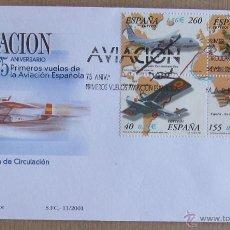 Sellos: SOBRE PRIMER DÍA CIRCULACIÓN, REF. 11 DE 2001, 75 ANIVERSARIO AVIACIÓN ESPAÑOLA (EDIFIL 3790). Lote 45122794