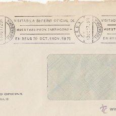 Sellos: VISITAD LA 8ª FERIA OFICIAL MUESTRAS PROVINCIA TARRAGONA REUS 1972 RARO MATASELLO RODILLO CARTA GMPM. Lote 45489914