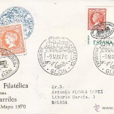 Sellos: TRENES EXFITREN 70 HOMENAJE FERROCARRIL LANGREO (ASTURIAS) 1970 RARO MATASELLOS GIJON SOBRE DE ALFIL. Lote 45770355