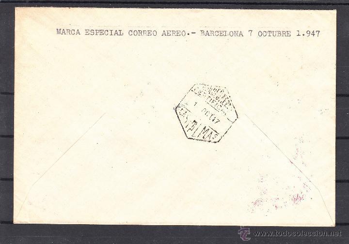 Sellos: .627 sobre barcelona a las palmas, marca correo aereo 24 cervantes y matº correo aereo certificado + - Foto 2 - 166135109
