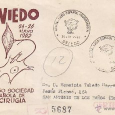 Sellos: MEDICINA NEUROCIRUGIA CONGRESO LUSO-ESPAÑOL, OVIEDO ASTURIAS 1963 MATASELLOS SOBRE MS CIRCULADO CUBA. Lote 46007491