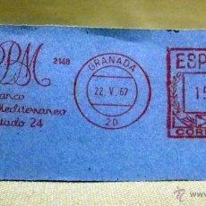 Timbres: FRANQUEO MECANICO, BANCO, BANCO RURAL Y MEDITERRANEO, GRANADA, MAYO DE 1967. Lote 46165490
