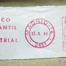 Sellos: FRANQUEO MECÁNICO, BANCO, BANCO MERCANTIL E INDUSTRIAL, AGOSTO DE 1966, MADRID. Lote 46180520