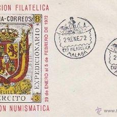 Sellos: EJERCITO EXPEDICIONARIO MELILLA XXI EXPOSICION, MALAGA 1972. MATASELLOS EN SOBRE ILUSTRADO.. Lote 14224182