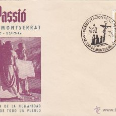 Sellos: REPRESENTACION LA PASSIÓ, OLESA DE MONTSERRAT (BARCELONA) 1956. MATASELLOS EN RARO SOBRE ILUSTRADO.. Lote 46895784