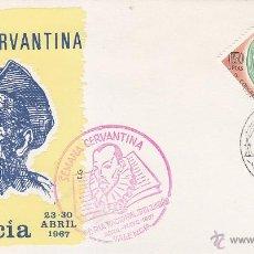 Sellos: DON QUIJOTE CERVANTES SEMANA CERVANTINA, VALENCIA 1967. MATASELLOS Y RARA MARCA ROJA EN SOBRE DE EG.. Lote 21032375