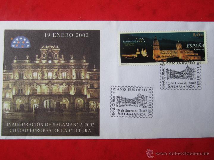 SOBRE DE LA INAUGURACIÓN DE SALAMANCA 2002. CIUDAD EUROPEA DE LA CULTURA (Sellos - Historia Postal - Sello Español - Sobres Primer Día y Matasellos Especiales)