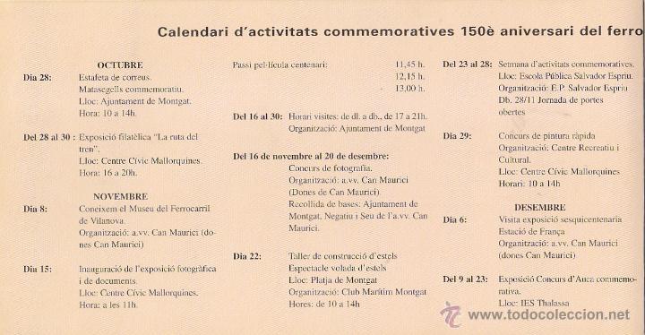 Sellos: TRENES 150 ANIVERSARI DEL FERROCARRIL, MONGAT (BARCELONA) 1998. MATASELLOS EN RARO DIPTICO. GMPM. - Foto 2 - 47596110