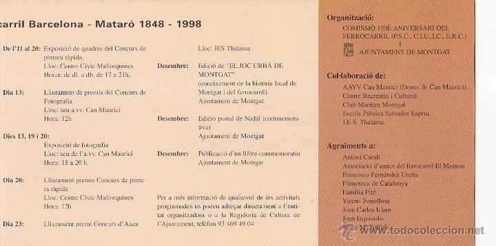 Sellos: TRENES 150 ANIVERSARI DEL FERROCARRIL, MONGAT (BARCELONA) 1998. MATASELLOS EN RARO DIPTICO. GMPM. - Foto 3 - 47596110