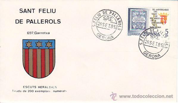 SANT FELIU DE PALLEROLS (GERONA) - 697 GARROTXA - ESCUTS HERÁLDICS (ESCUDOS HERÁLDICOS). PENYA FILAT (Sellos - Historia Postal - Sello Español - Sobres Primer Día y Matasellos Especiales)