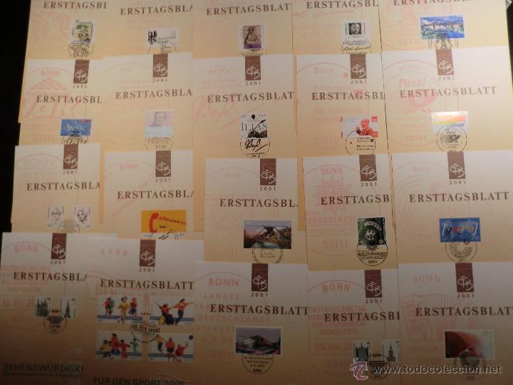 E.T.B. ALEMANIA 2001 49 DOCUMENTOS CON TODOS LOS SELLOS Y H.B. MATASELLADOS EXCELENTEMENTE (Sellos - Historia Postal - Sello Español - Sobres Primer Día y Matasellos Especiales)