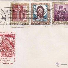 Sellos: ARTE ROMANICO CONSEJO EUROPA VII EXPOSICION, BARCELONA 1961. MATASELLOS DE RODILLO EN SOBRE DE ALFIL. Lote 2956552