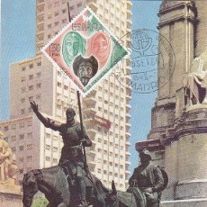 Sellos: DON QUIJOTE CERVANTES MEDICINA PSIQUIATRIA IV CONGRESO, MADRID 1966. MATASELLOS EN TARJETA ILUSTRADA. Lote 36745624