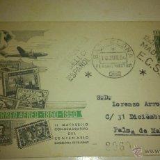 Sellos: SOBRE CONMEMORATIVO DEL CENTENARIO DEL CORREO AEREO DE ESPAÑA. II MATASELLO. BARCELONA 1950. Lote 48948720