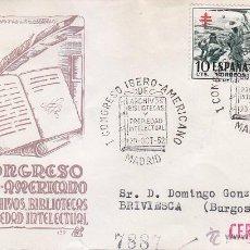 Sellos: ARCHIVOS Y BIBLIOTECAS I CONGRESO IBERO-AMERICANO, MADRID 1952. MATASELLOS MOD 2 SOBRE CIRCULADO DP.. Lote 12857638
