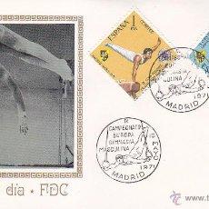 Sellos: GIMNASIA MASCULINA: IX CAMPEONATO DE EUROPA, MADRID 1971. MATASELLOS EN SOBRE DE MUNDO FILATELICO.. Lote 45853757