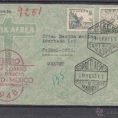 Sellos: .646 SOBRE MARCA AEREA Nº 25 PRIMER CORREO AEREO DIRECTO MADRID-MEXICO, MATº CORREO AEREO CERTIFICA+. Lote 50043065