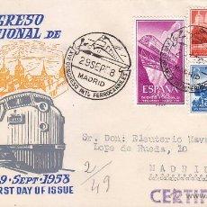 Francobolli: TRENES XVII CONGRESO DE FERROCARRILES, MADRID 1958. MATASELLOS FERROCARRIL EN SOBRE DE ALFIL MOD 2.. Lote 23093855