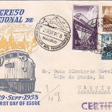 Francobolli: TRENES XVII CONGRESO DE FERROCARRILES, MADRID 1958. MATASELLOS FERROCARRIL EN SOBRE DE ALFIL MOD 2.. Lote 50311799