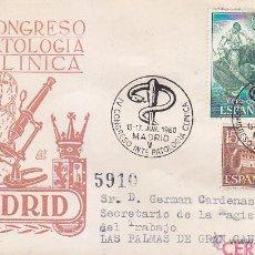Sellos: MEDICINA PATOLOGIA CLINICA IV CONGRESO, MADRID 1960. RARO MATASELLOS EN SOBRE CIRCULADO DE DP.. Lote 22648536