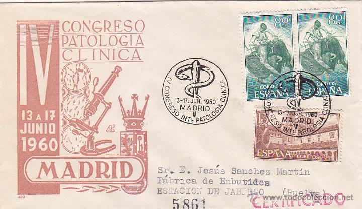 MEDICINA PATOLOGIA CLINICA IV CONGRESO, MADRID 1960. RARO MATASELLOS EN SOBRE CIRCULADO DE DP. (Sellos - Historia Postal - Sello Español - Sobres Primer Día y Matasellos Especiales)