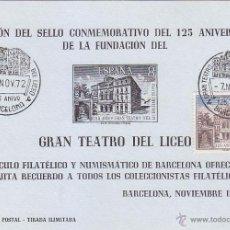 Sellos: GRAN TEATRO DEL LICEO 125 ANIVERSARIO, BARCELONA 1972. MATASELLOS EN HOJA RECUERDO AZUL CLARO.. Lote 50764979