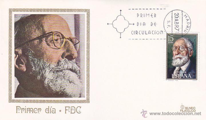 RAMON MENENDEZ PIDAL CENTENARIO DE CELEBRIDADES 1971 (EDIFIL 2030) SPD DE MUNDO FILATELICO. RARO ASI (Sellos - Historia Postal - Sello Español - Sobres Primer Día y Matasellos Especiales)