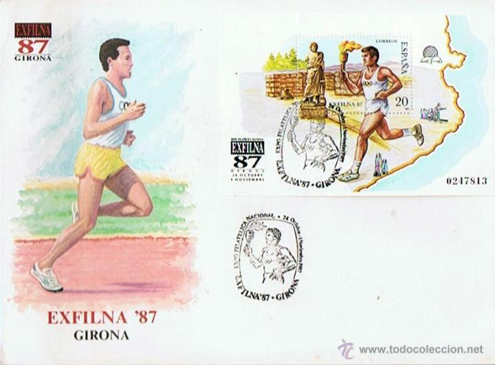 SOBRE EXFILNA 1987 GIRONA EXPO FILATELICA NACIONAL (Sellos - Historia Postal - Sello Español - Sobres Primer Día y Matasellos Especiales)