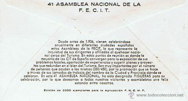 Sellos: SOBRE DE LA 41ª ASAMBLEA NACIONAL DE LA F.E.C.I.T 3 DE OCTUBRE 1976 - Foto 2 - 51331125
