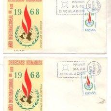 Sellos: LOTE DE 2 SOBRES PRIMER DIA DE CIRCULACION. AÑO INTERNACIONAL DE LOS DERECHOS HUMANOS. AÑO 1968. Lote 51424075